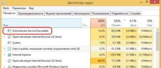 Служба antimalware service executable грузит систему